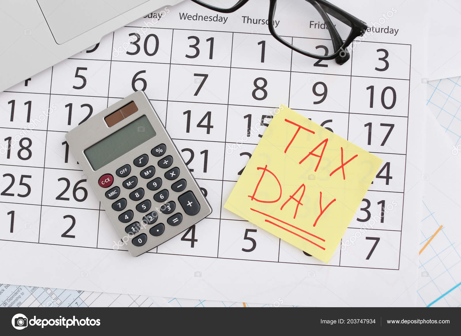 Flat Lay Composition Calendar Calculator Glasses Table Tax Day