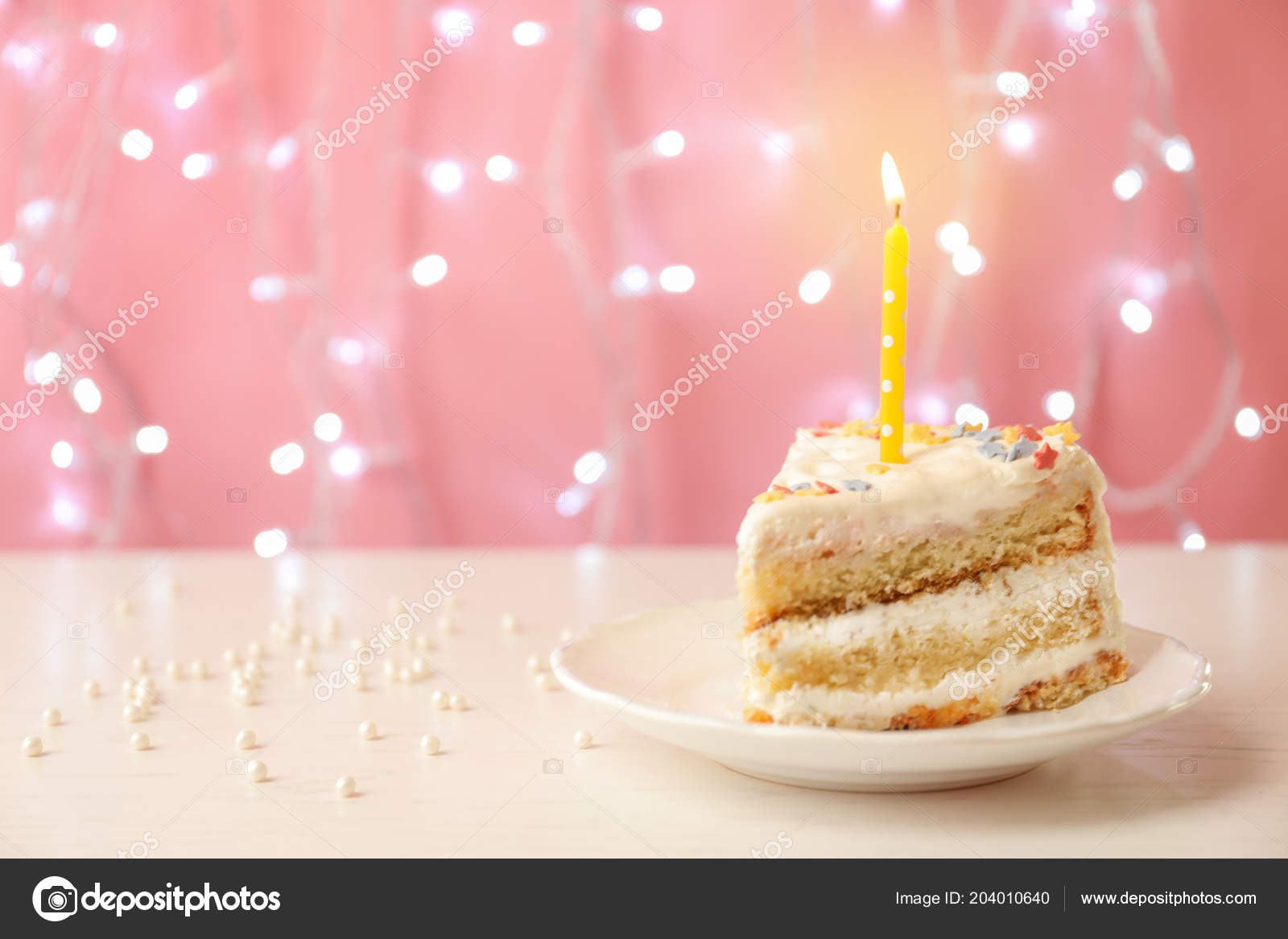 Slice Delicious Birthday Cake Candle Table Stock Photo