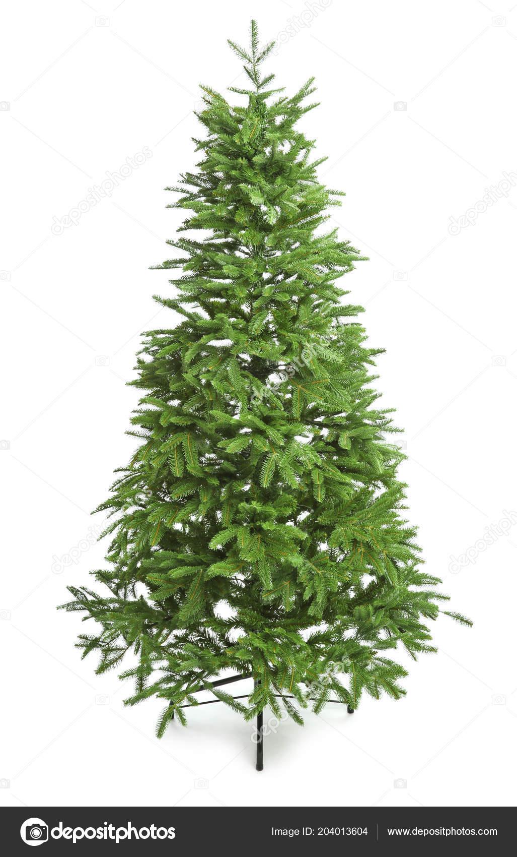 Christmas Tree White Background.Green Christmas Tree White Background Stock Photo