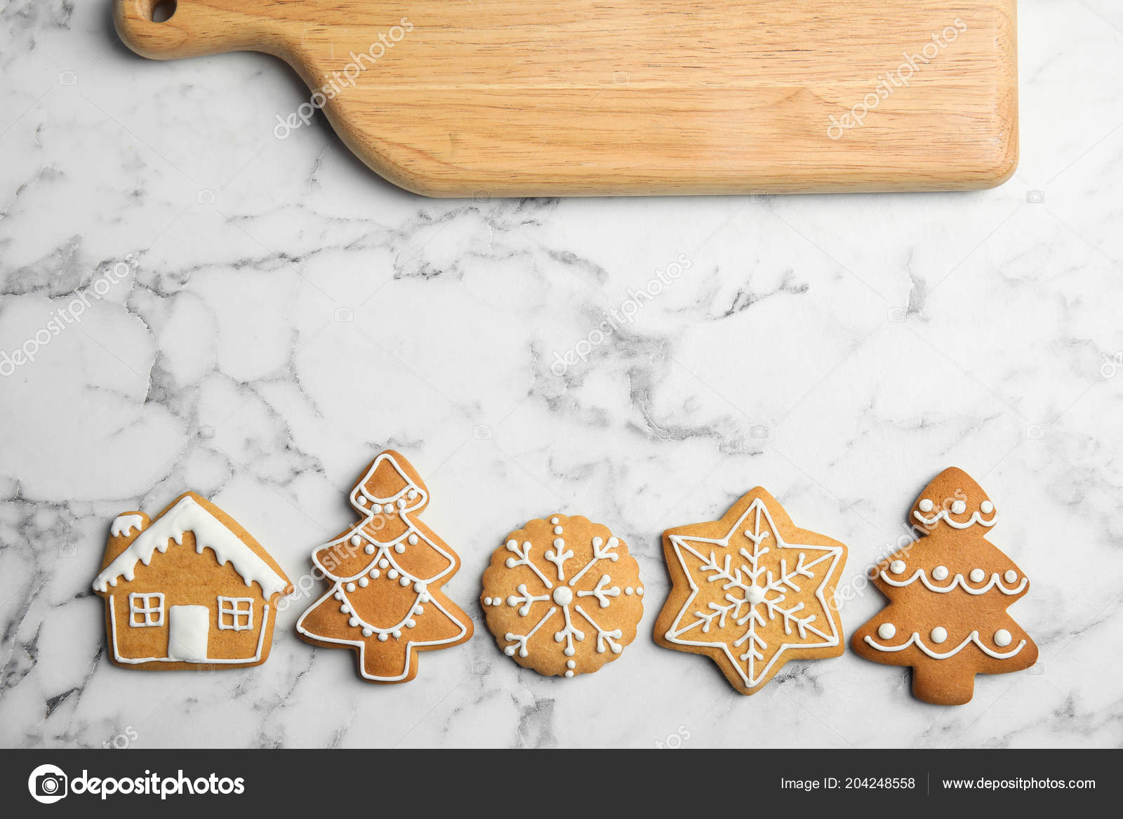 Tasty Homemade Christmas Cookies Board Table Top View Stock Photo