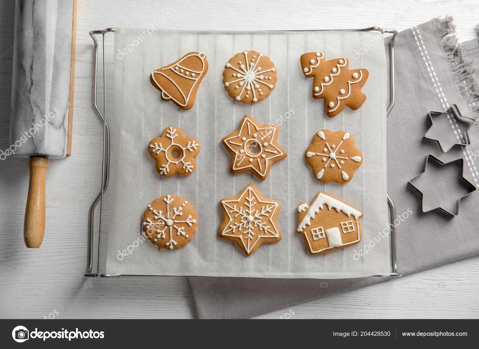 Tasty Decorated Christmas Cookies Baking Table Top View Stock