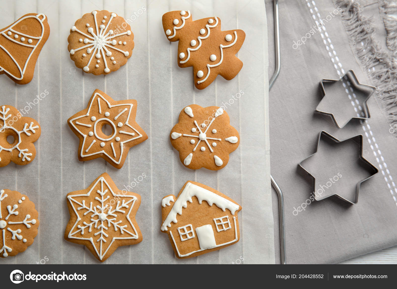 Tasty Decorated Christmas Cookies Baking Parchment Top View Stock