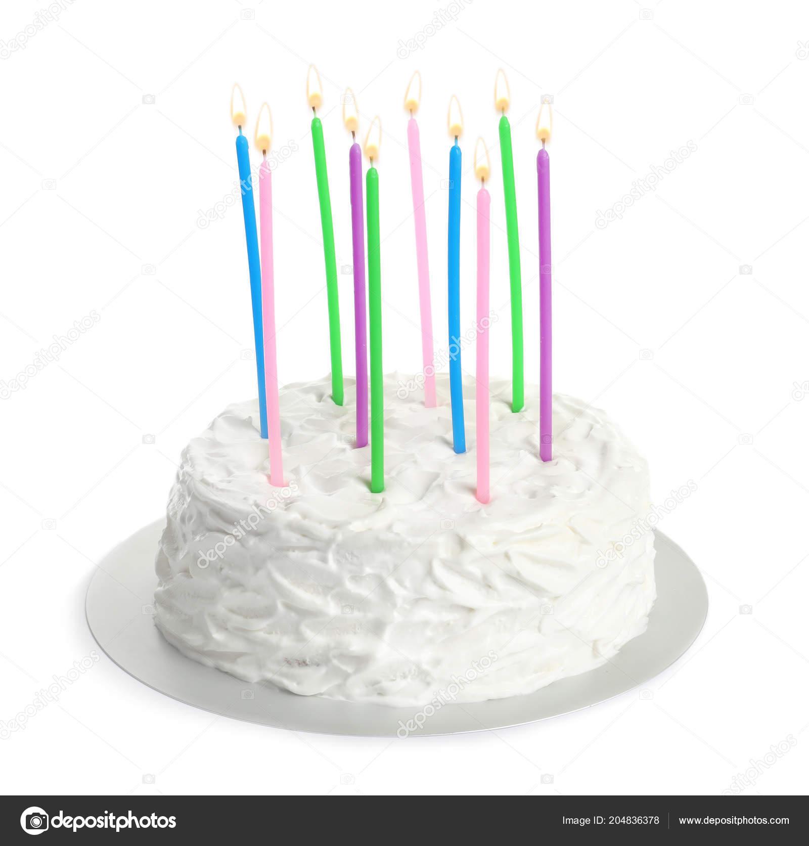 Fabulous Birthday Cake Candles White Background Stock Photo Personalised Birthday Cards Beptaeletsinfo