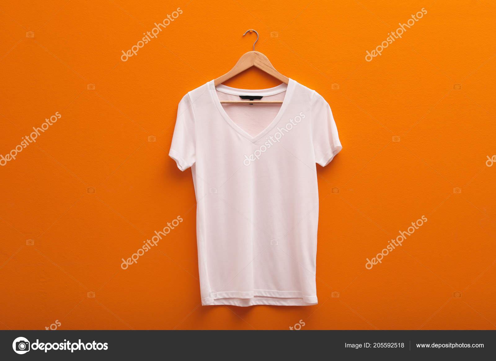 Hanger Blank Shirt Color Background Mockup Design Stock Photo