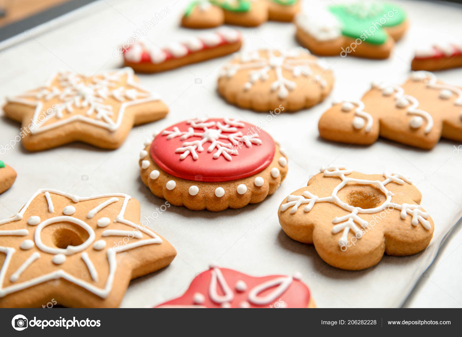 Tasty Colorful Christmas Cookies Baking Tray Stock Photo