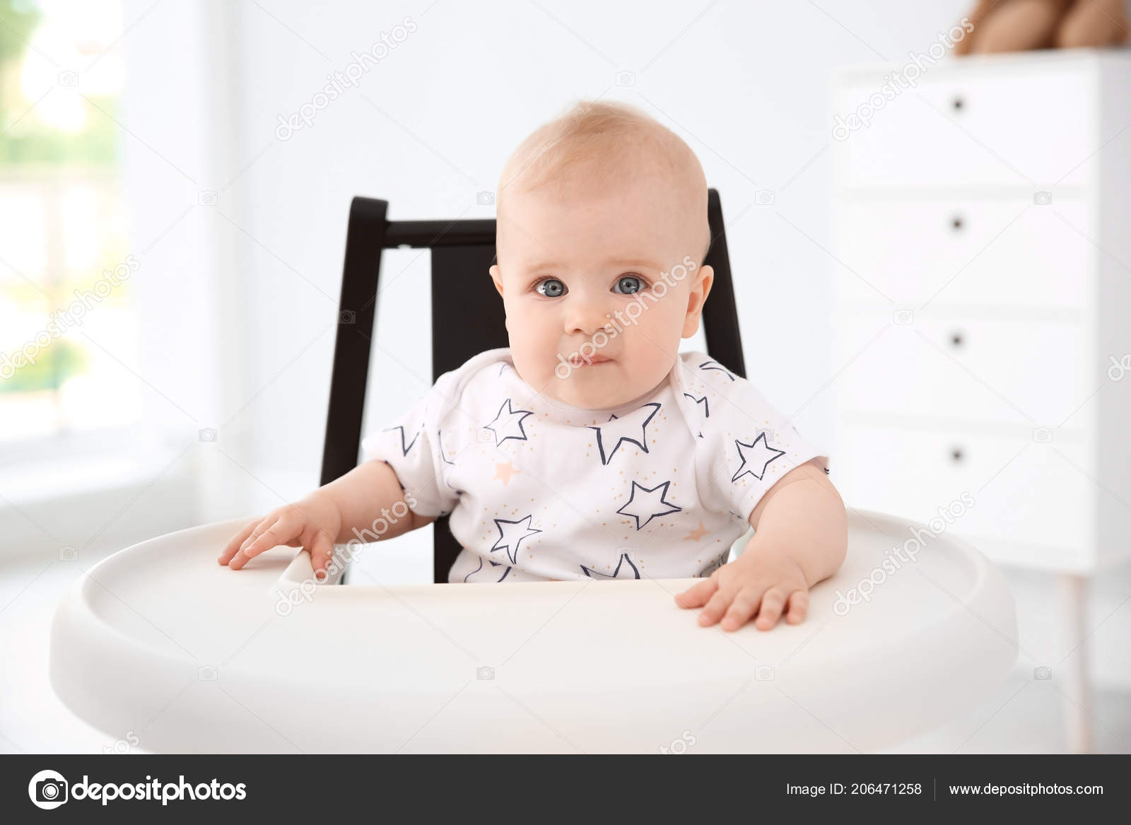 Cute Little Baby High Chair Home Stock Photo