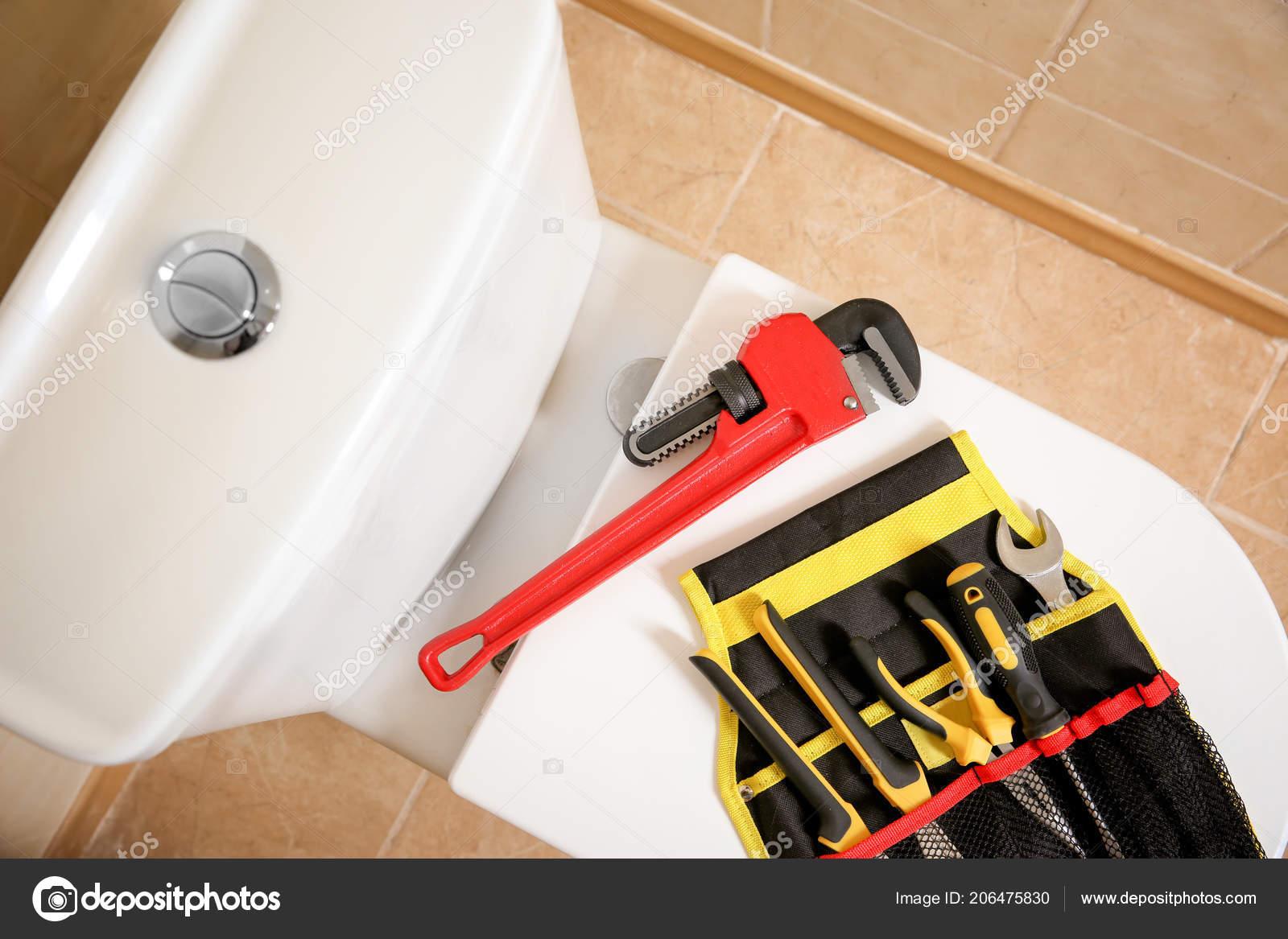 Different Plumber Tools Toilet Seat Lid Indoors — Stockfoto ...