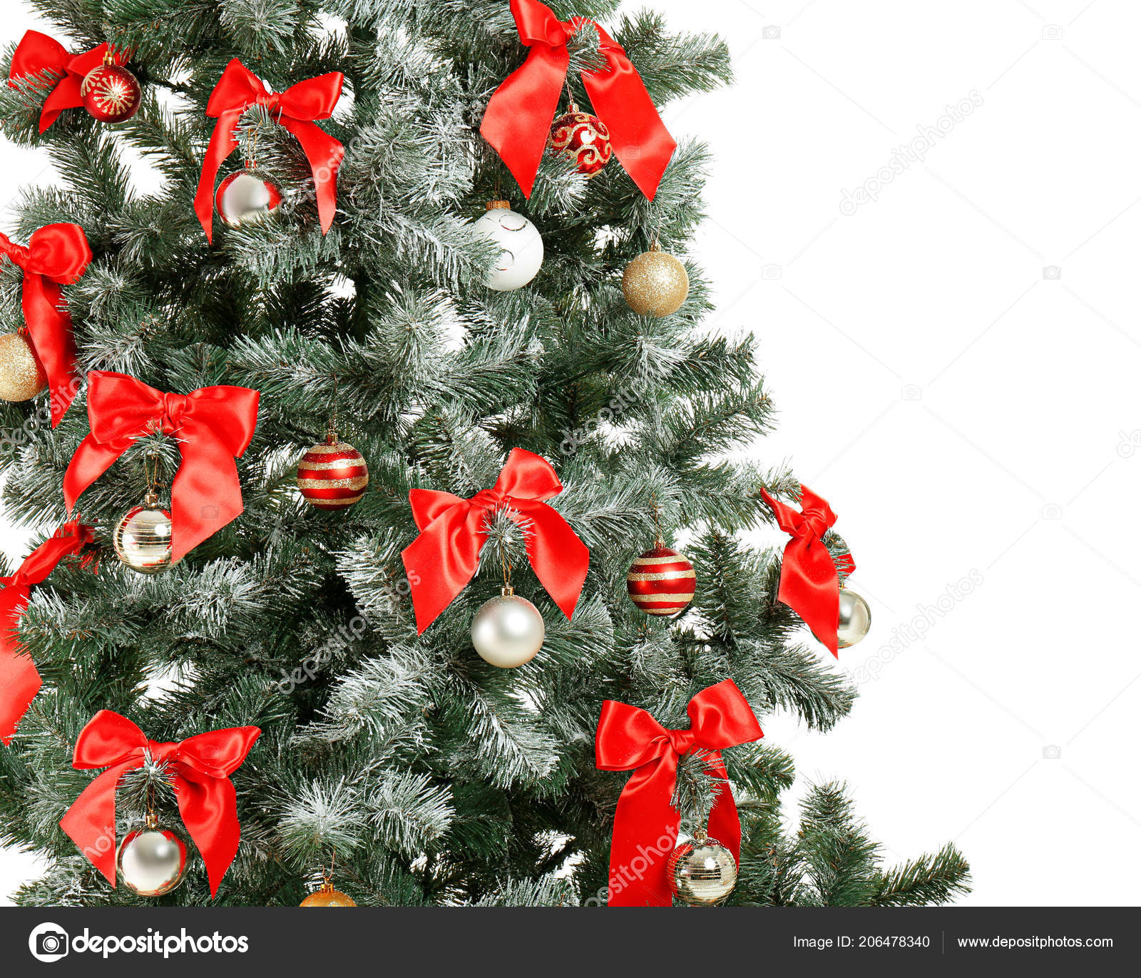 Beautiful Christmas Tree Decor White Background Closeup Celebration
