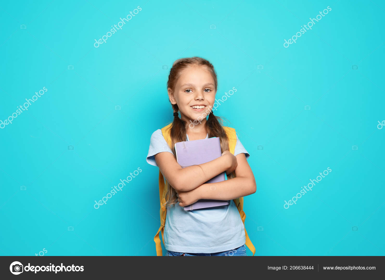 6e0bef1726 Little School Child Backpack Copybook Color Background — Stock Photo ...
