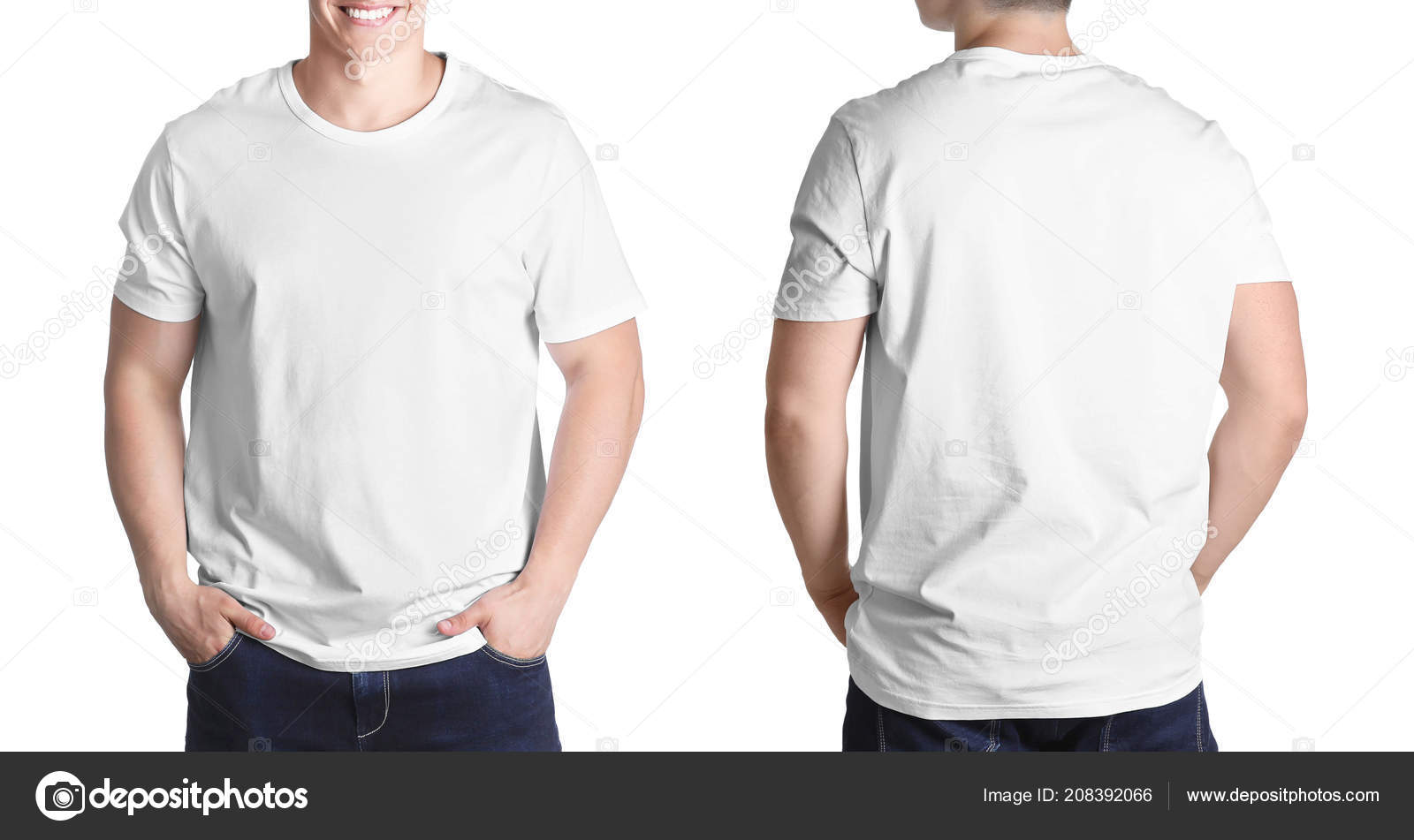 Front Back Views Young Man Blank Shirt White Background Mockup