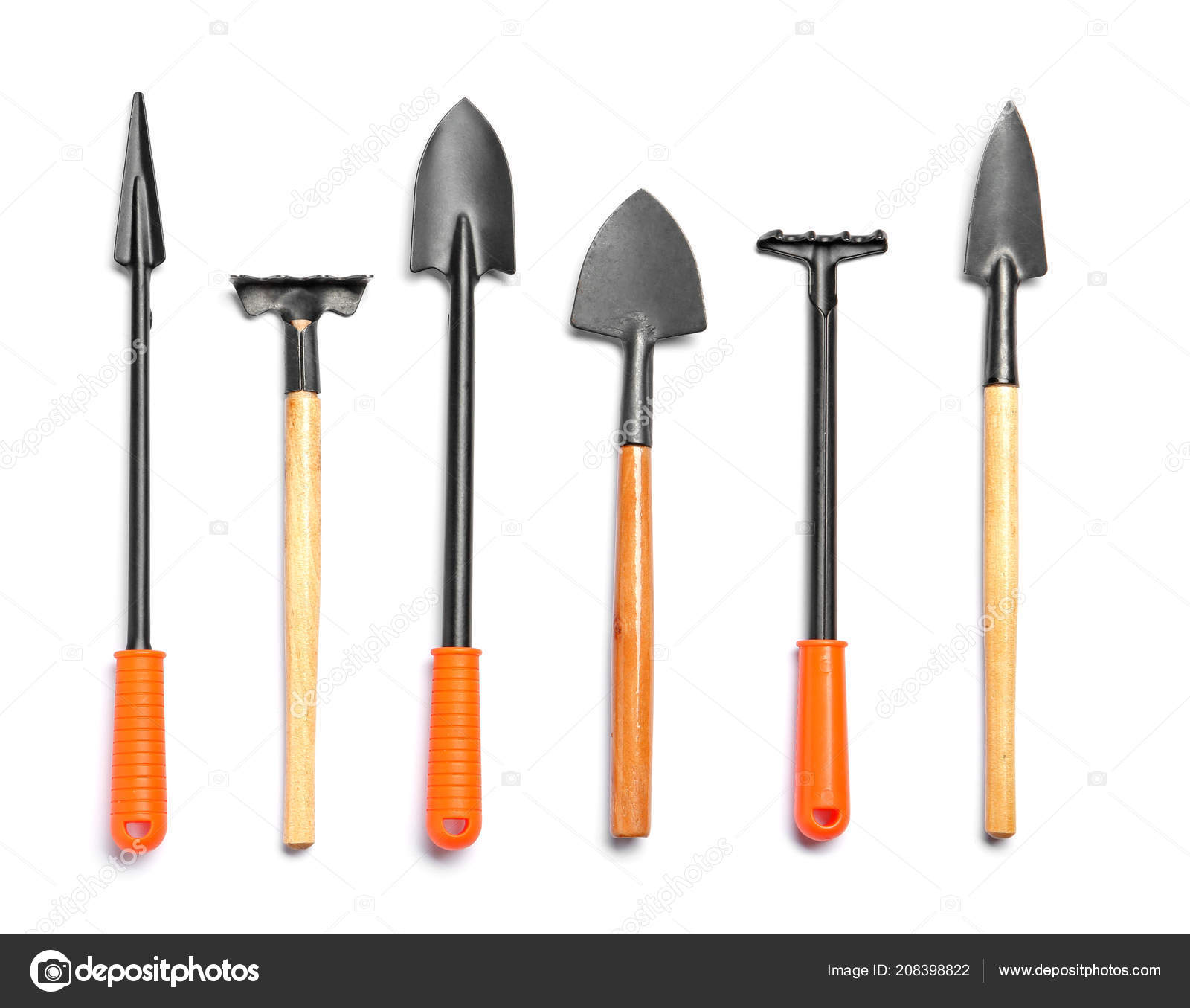 Set Gardening Tools White Background Top View Stock Photo