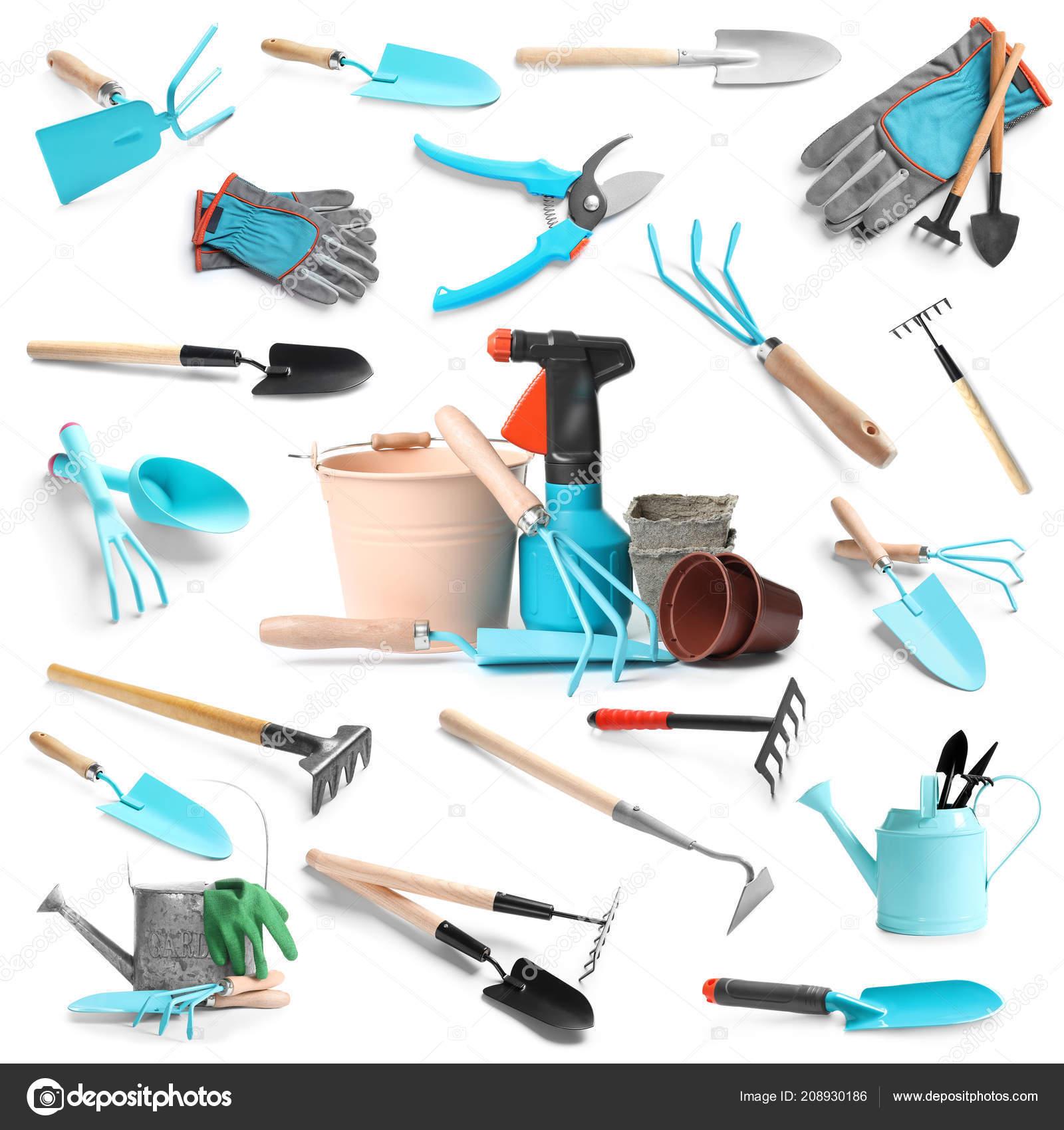 . Set Different Gardening Tools White Background   Stock Photo