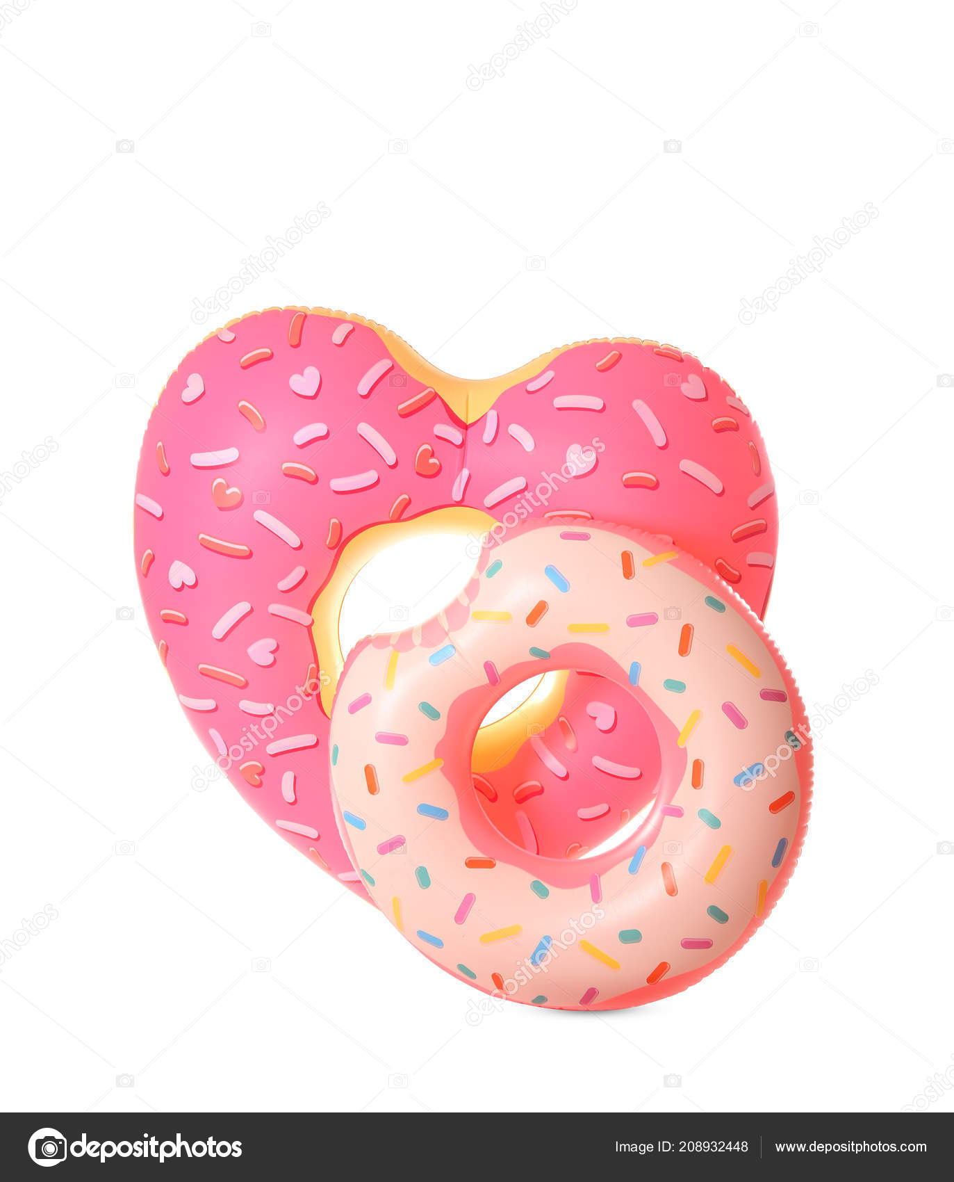 different inflatable rings white background summer holidays stock