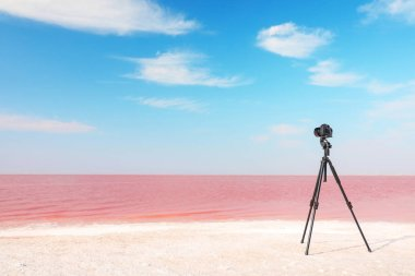 Professional camera on tripod near pink lake