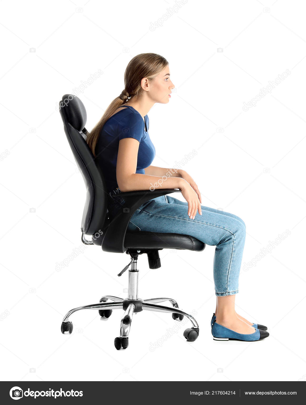 Tremendous Woman Sitting Office Chair White Background Posture Concept Caraccident5 Cool Chair Designs And Ideas Caraccident5Info