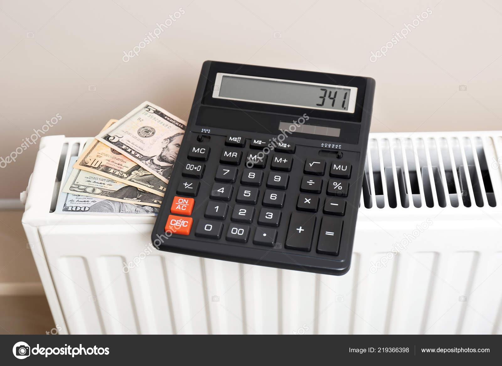 Calculator Money Heating Radiator Indoors — Stock Photo