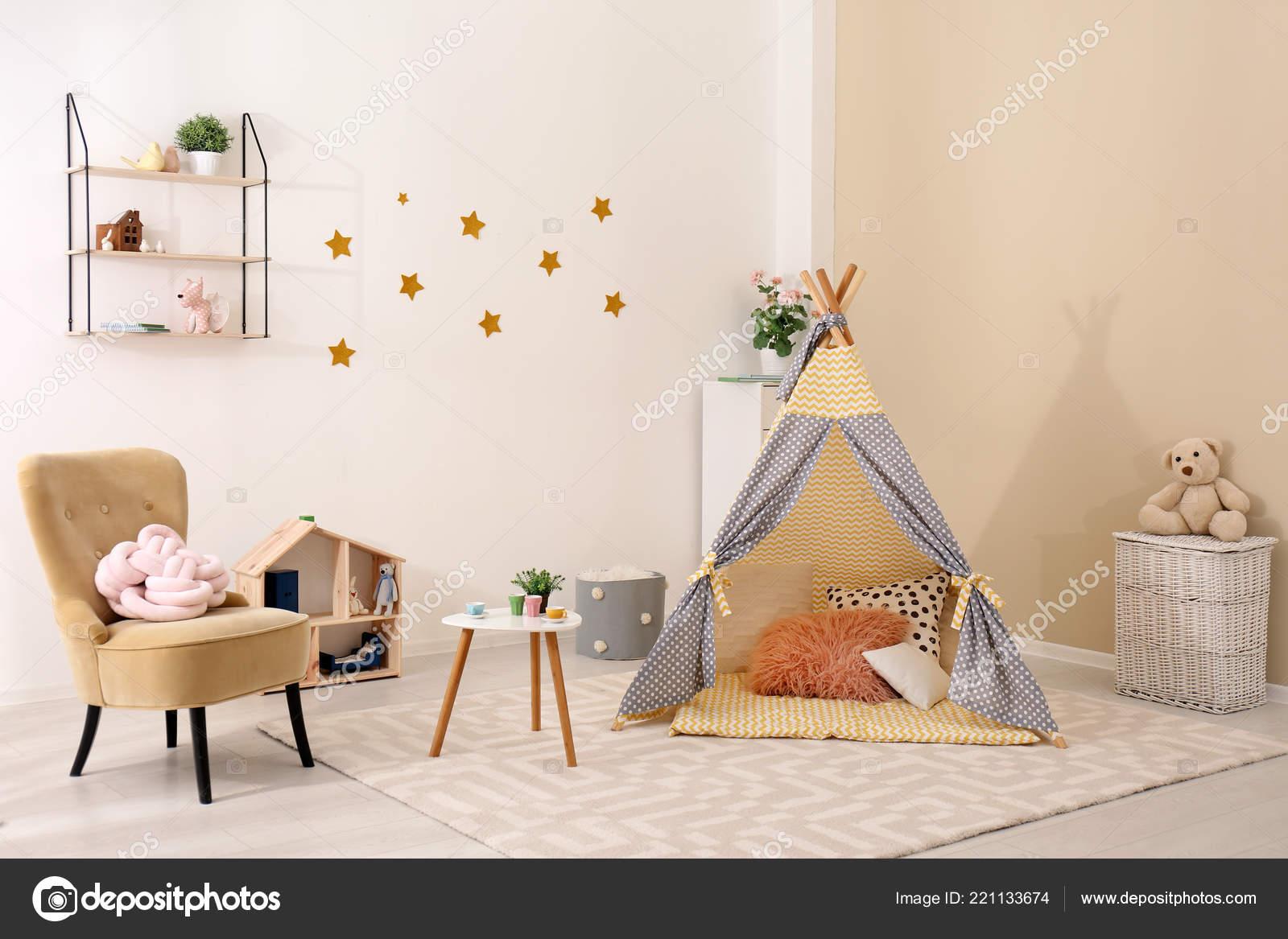 Cozy Kids Room Interior Play Tent Toys u2014 Stock Photo & Cozy Kids Room Interior Play Tent Toys u2014 Stock Photo ...