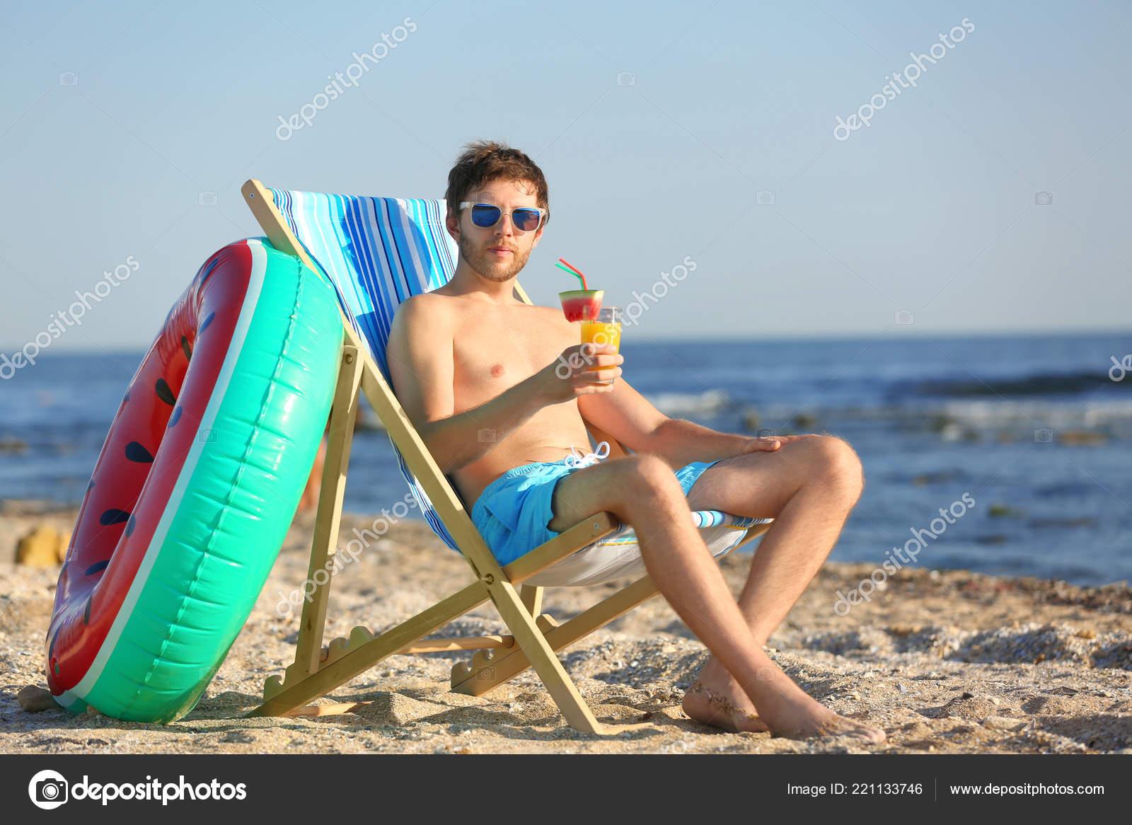 Young Man Cocktail Beach Chair Seacoast Stock Photo Image By C Liudmilachernetska Gmail Com 221133746