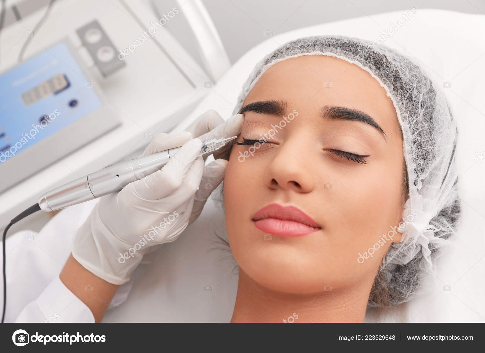 Young Woman Undergoing Procedure Permanent Eye Makeup Tattoo Salon