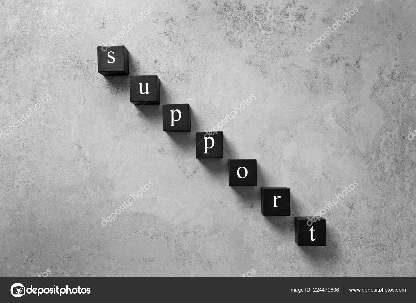 cubes word support grey background top view technical service