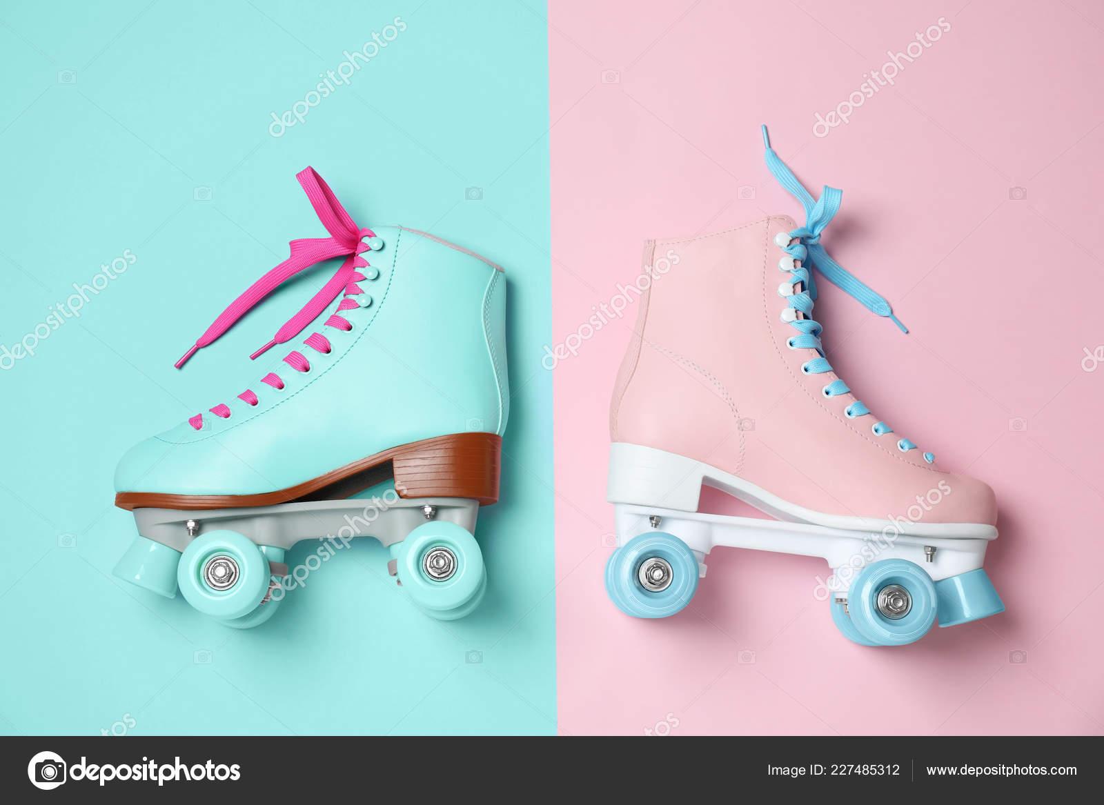 Vintage Roller Skates Color Background Top View Stock Photo C Liudmilachernetska Gmail Com 227485312