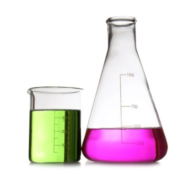 Chemistry laboratory glassware with samples isolated on white