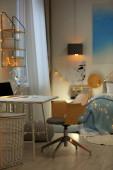Stílusos szoba kényelmes ágy és a munkahelyi belső