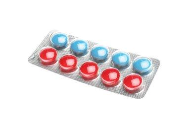 Pills in blister pack on white background