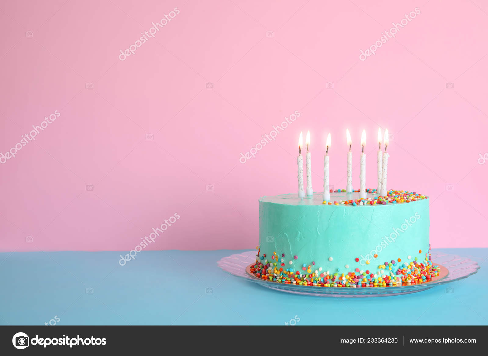 Fresh Delicious Birthday Cake Candles Table Color Background Space Text Stock Photo