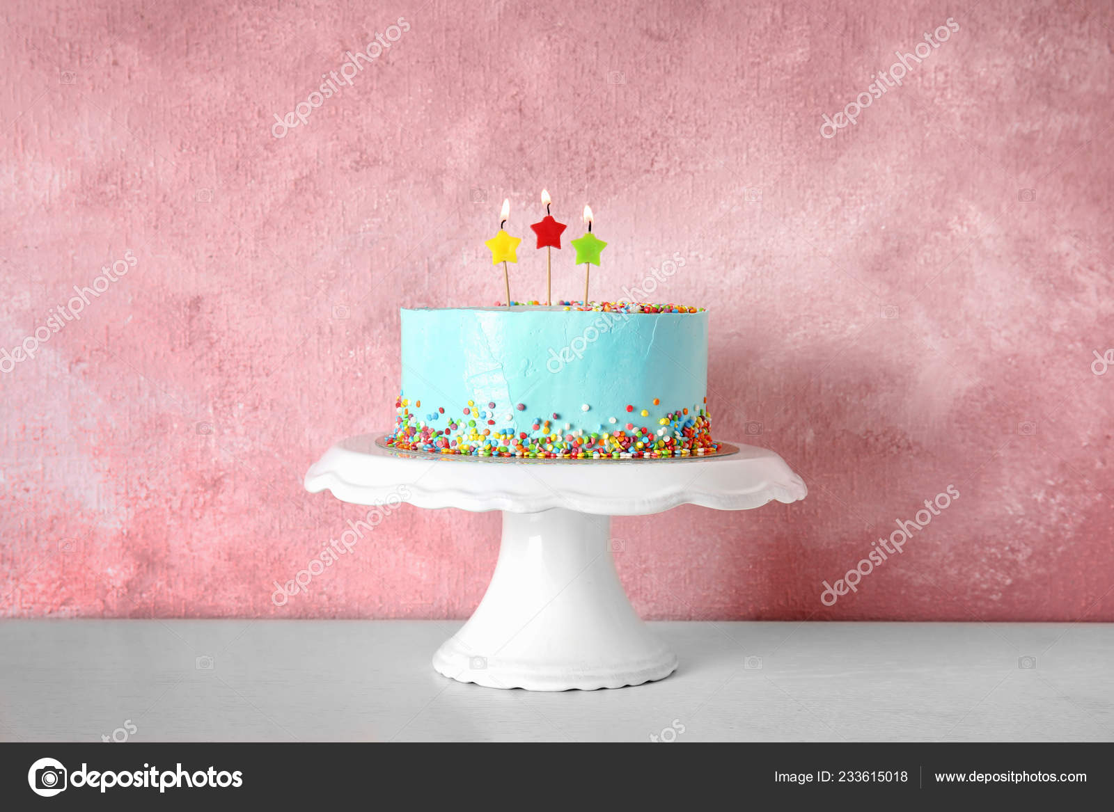 Fresh Delicious Birthday Cake Candles Stand Color Background Stock Photo