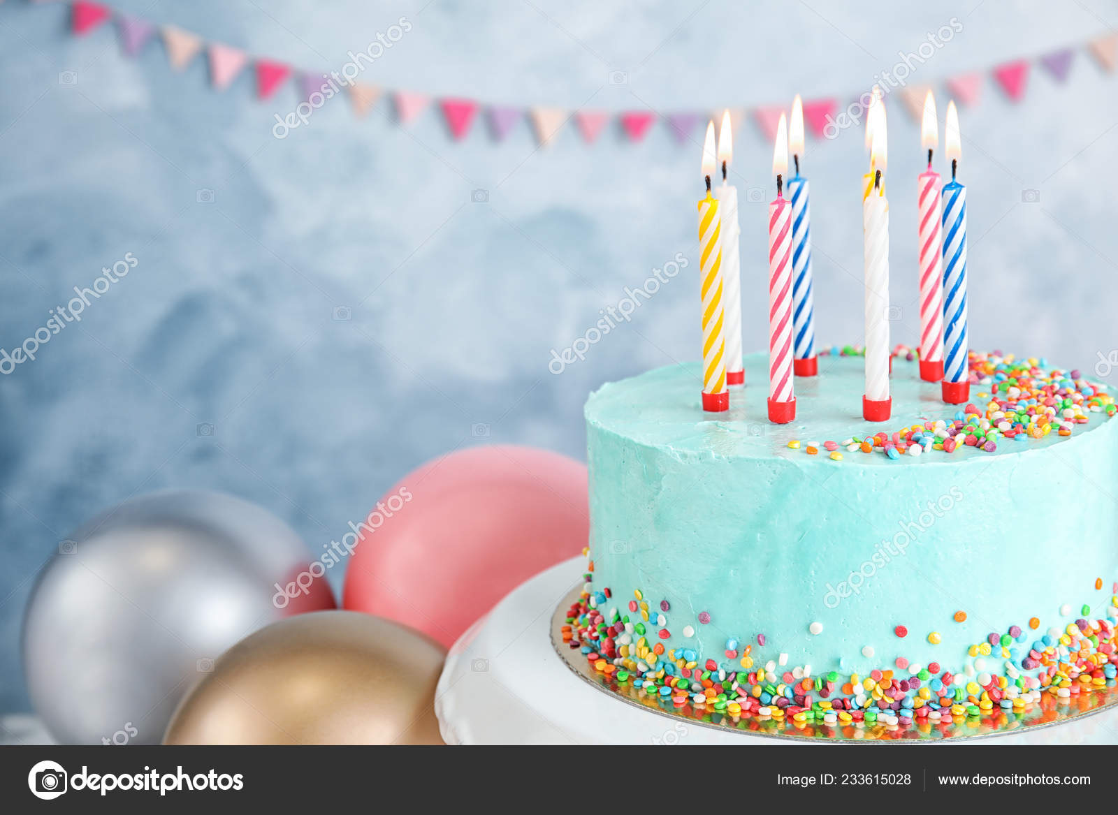 Fantastic Fresh Delicious Birthday Cake Candles Balloons Color Background Personalised Birthday Cards Veneteletsinfo