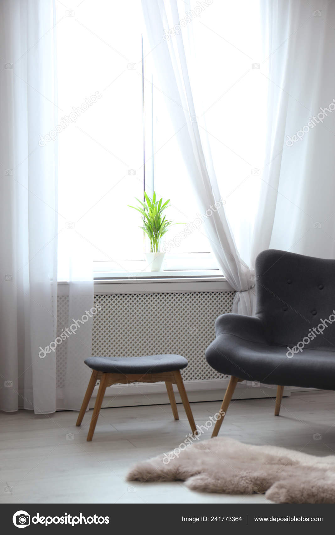 Comfortable Sofa Window Open Curtains Elegant Room Interior Stock