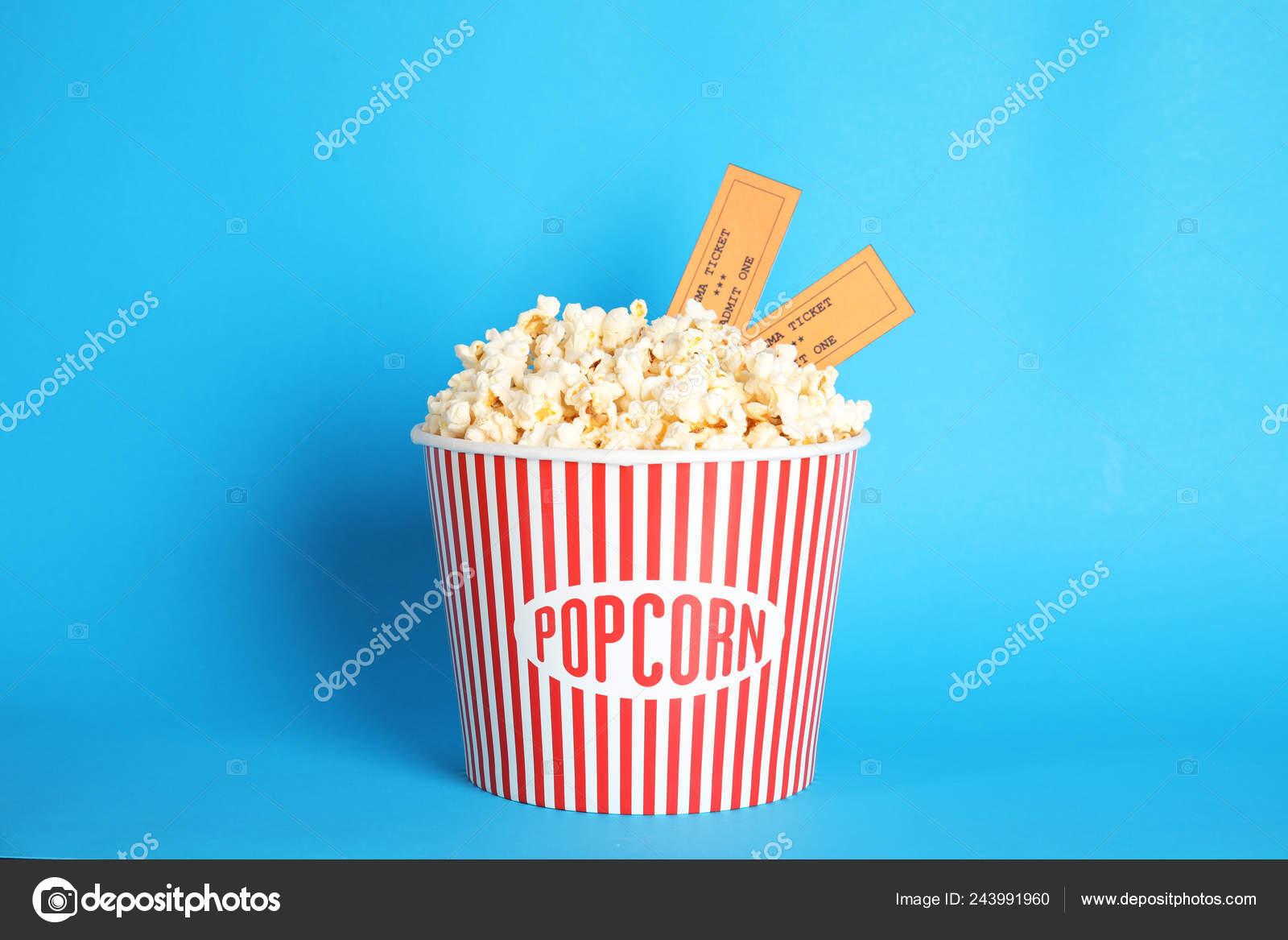 Bucket Fresh Tasty Popcorn Tickets Color Background Cinema Snack Stock Photo C Liudmilachernetska Gmail Com 243991960
