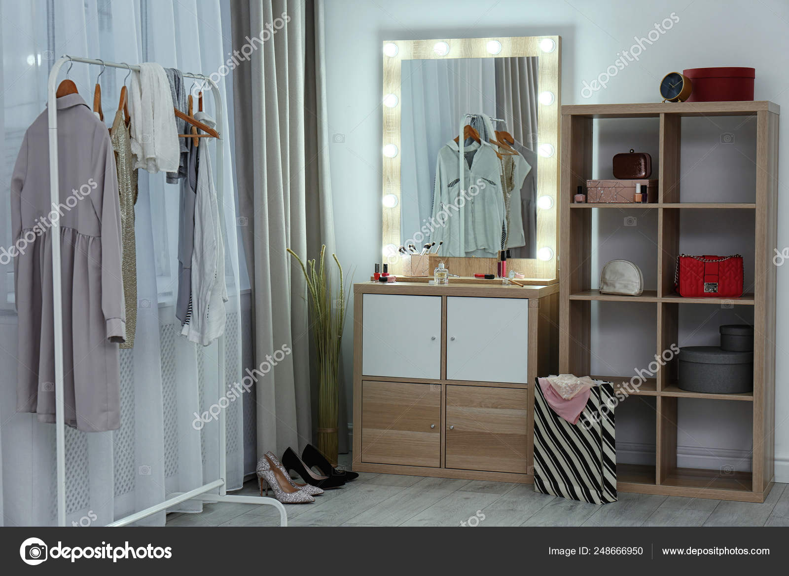 Dressing Room Interior With Makeup Mirror Wardrobe Rack And Shelving Unit Stock Photo C Liudmilachernetska Gmail Com 248666950