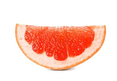 Slice of ripe juicy grapefruit on white background