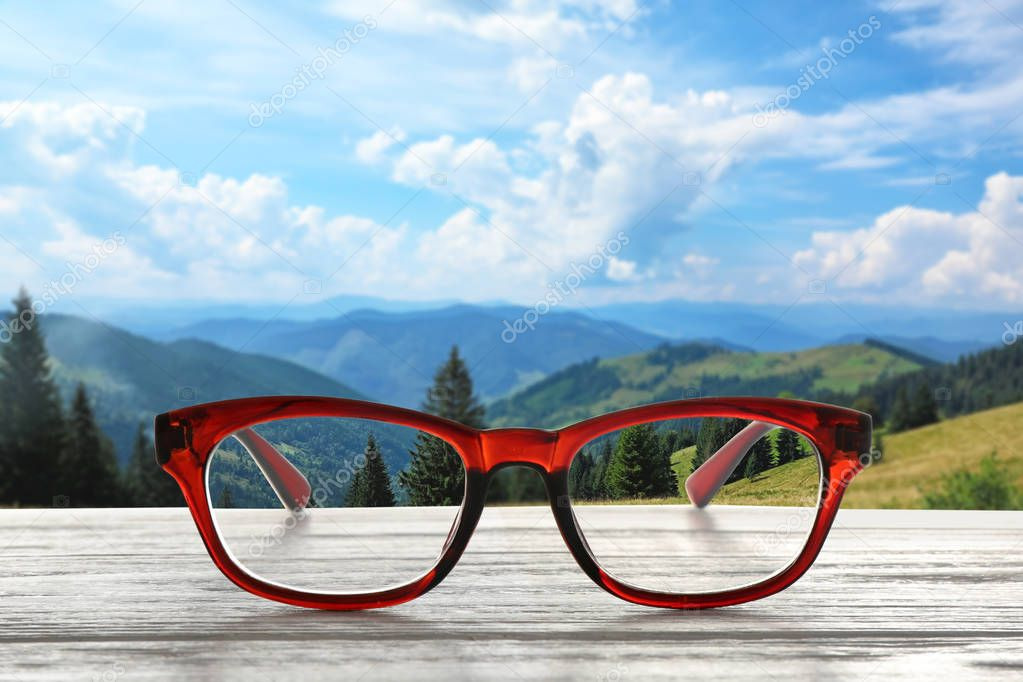Clear beautiful view through glasses. Ophthalmologist prescription