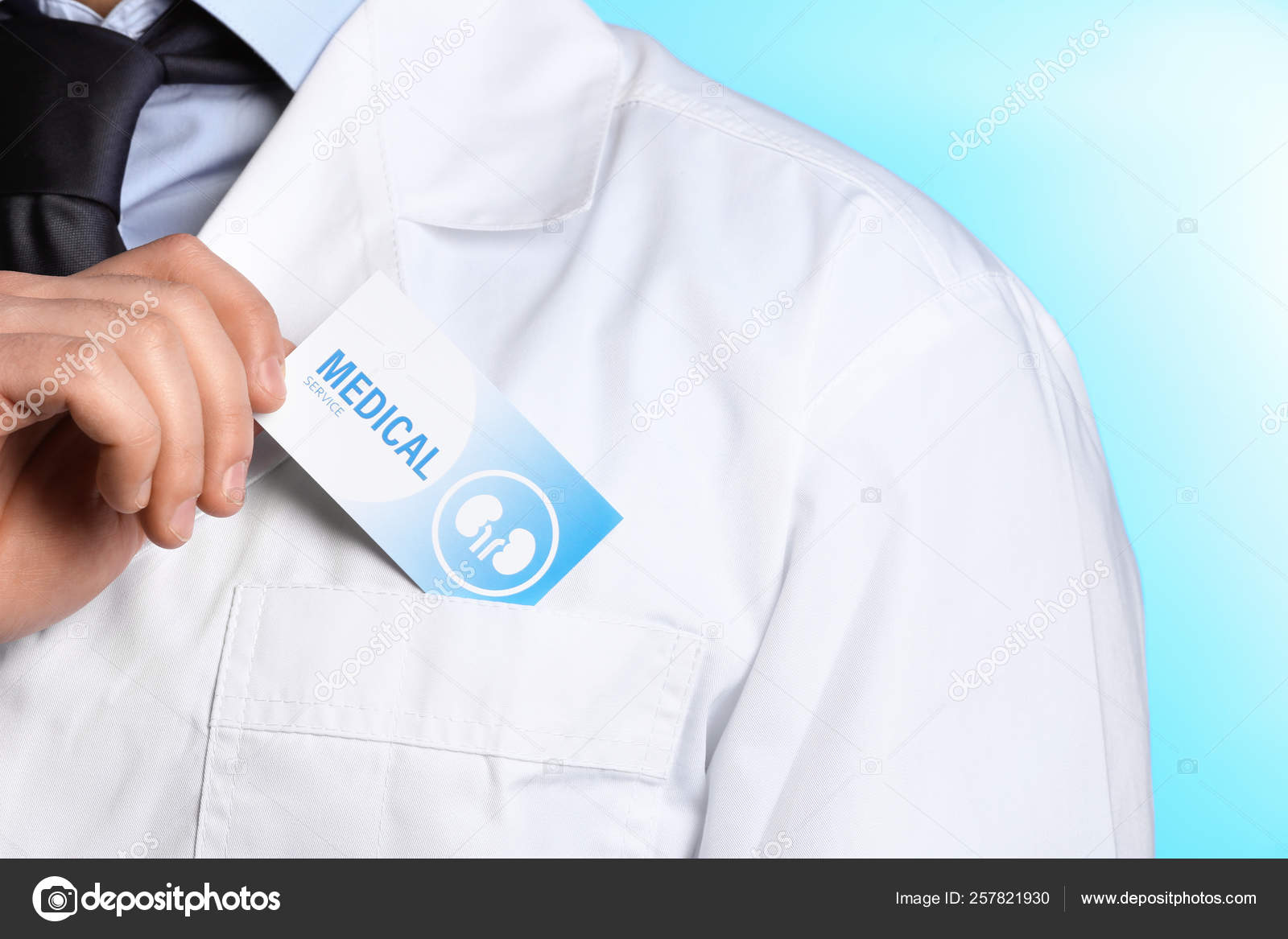 Doctor Putting Business Card Into Pocket On Color Background