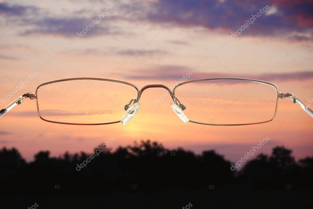Clear view through glasses on table. Ophthalmologist prescription