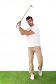 Mladý muž hrající Golf na bílém pozadí