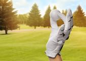 Hráč drží golfový míček v parku za slunečného dne, detailní záběr. Prostor pro návrh