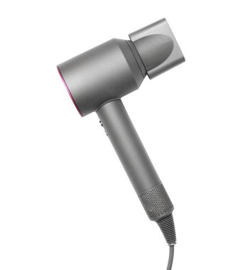 Modern hair dryer on white background, top view
