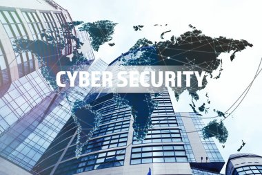 Text CYBER SECURITY, world map and modern buildings on background