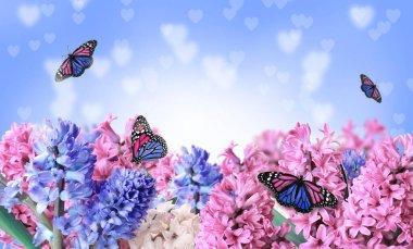 """Картина, постер, плакат, фотообои """"beautiful hyacinth flowers and amazing fragile monarch butterflies"""", артикул 394493176"""