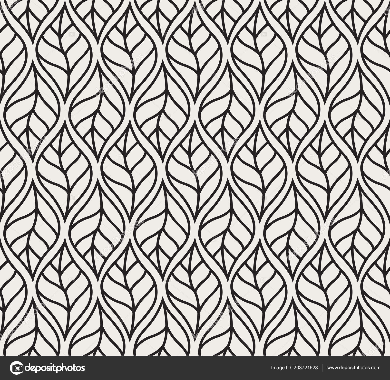 Vector Geometric Leaves Seamless Pattern Abstract Style