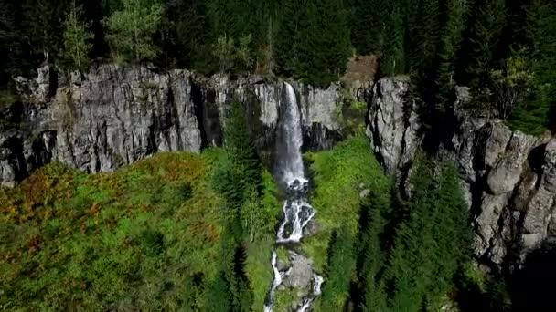 Aerial View Woods Waterfall Water