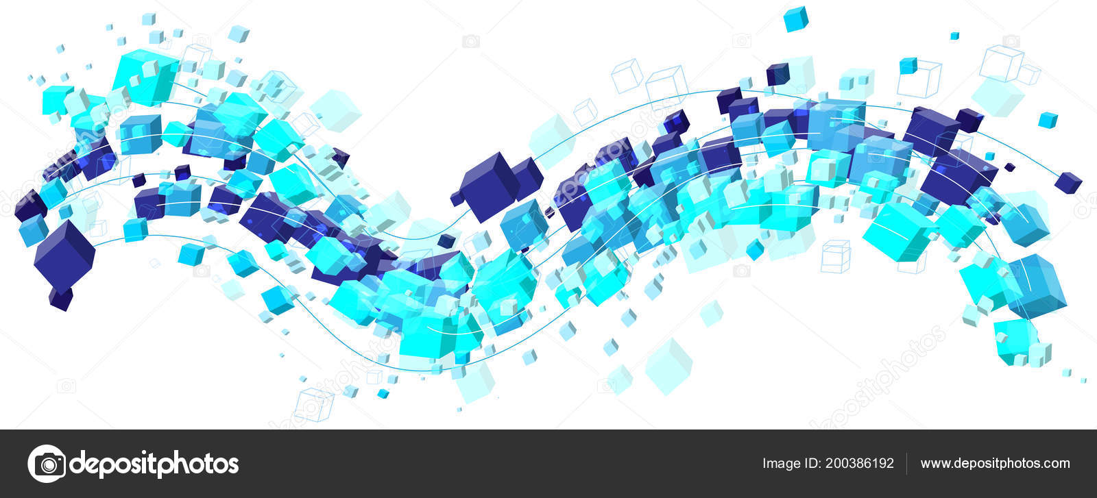 Abstract Cool Blue Cubes Shapes Stream Wave Vector Format