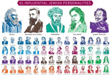 Sixty-one famous Jewish personalities who operated during the Biblical period until the present day - 5/2018 - are depicted in a vector illustration and separated one by one with names.