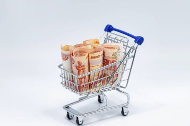 Concept: the rise in price of the food basket in Russia