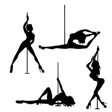 set of vector silhouette of girl and pole on a white background. Pole dance illustration for fitness, striptease dancers, exotic dance. Illustration EPS10 for logotype, badge, icon, logo, banner, tag.