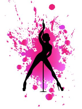 Vector black silhouette pole dance on pink watercolor blot on a white background. Hand scketch exotic dance vector illustration. Isolated clipart for logotype, badge, icon, logo, banner, tag, clothes